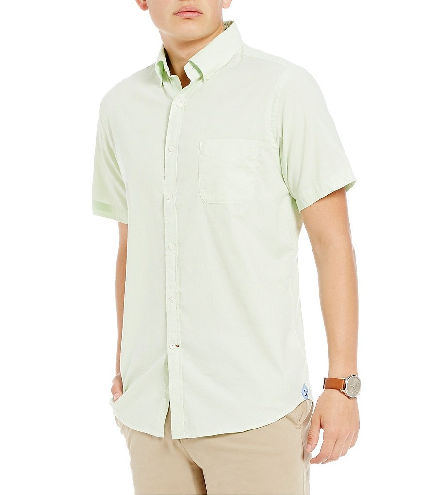 Cremieux Soho Slim-Fit Pinpoint Oxford Mini-Stripe Short-Sleeve Stretch Woven Shirt