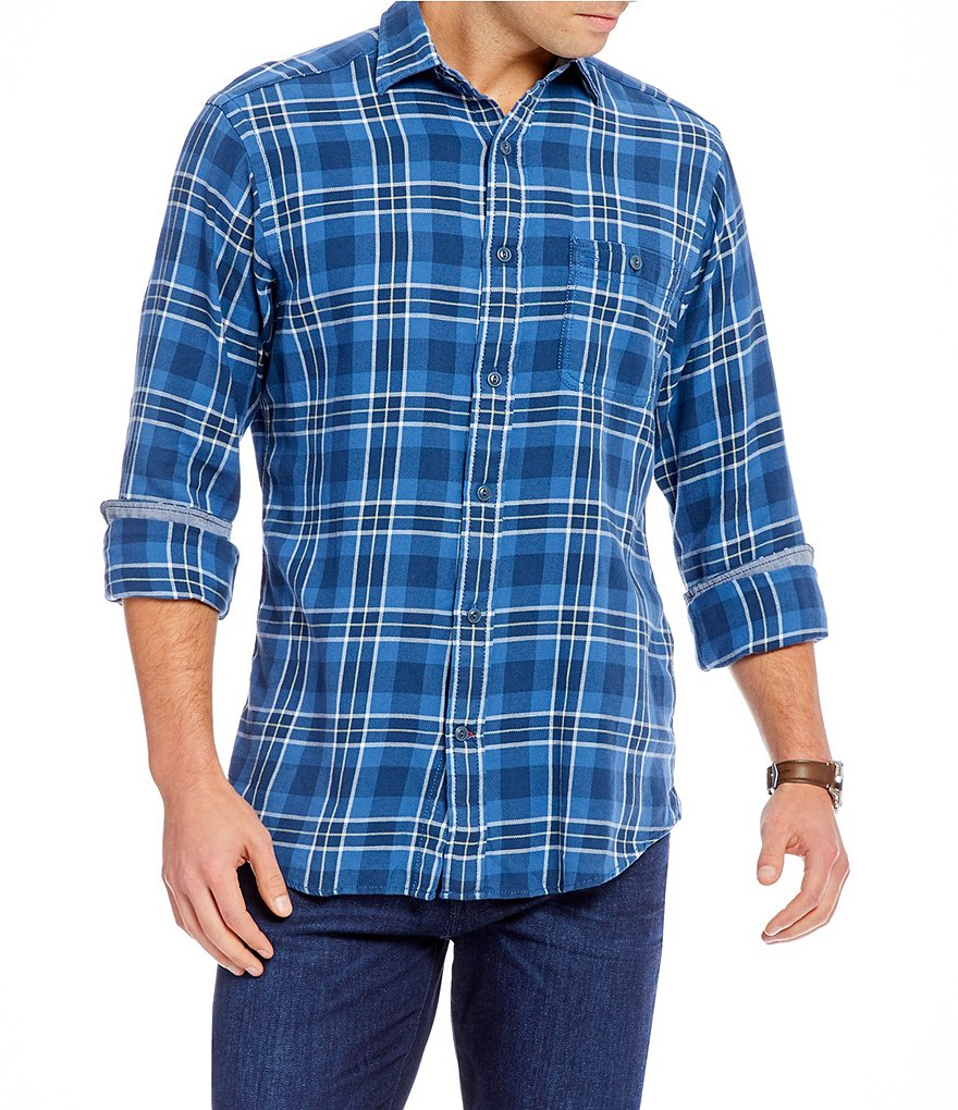 Cremieux Sologne Large Grid Plaid Vintage Twill Long-Sleeve Woven Shirt