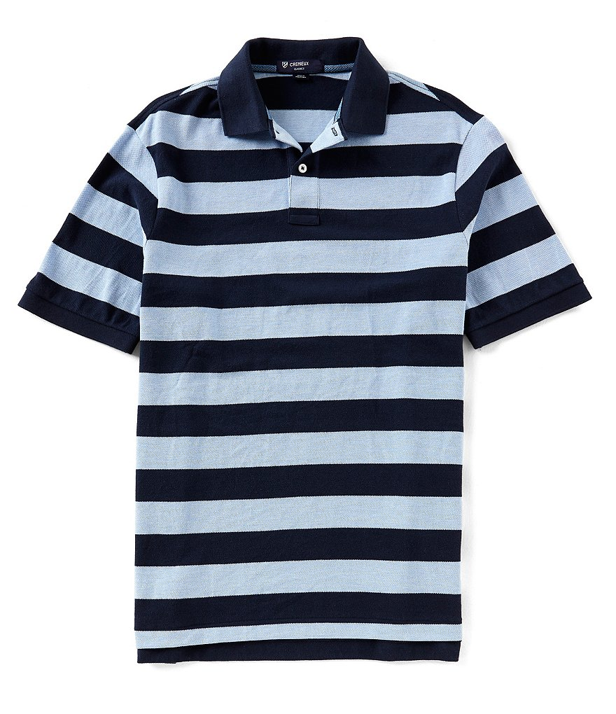 Cremieux Large Stripe Pique Stretch Short-Sleeve Polo Shirt