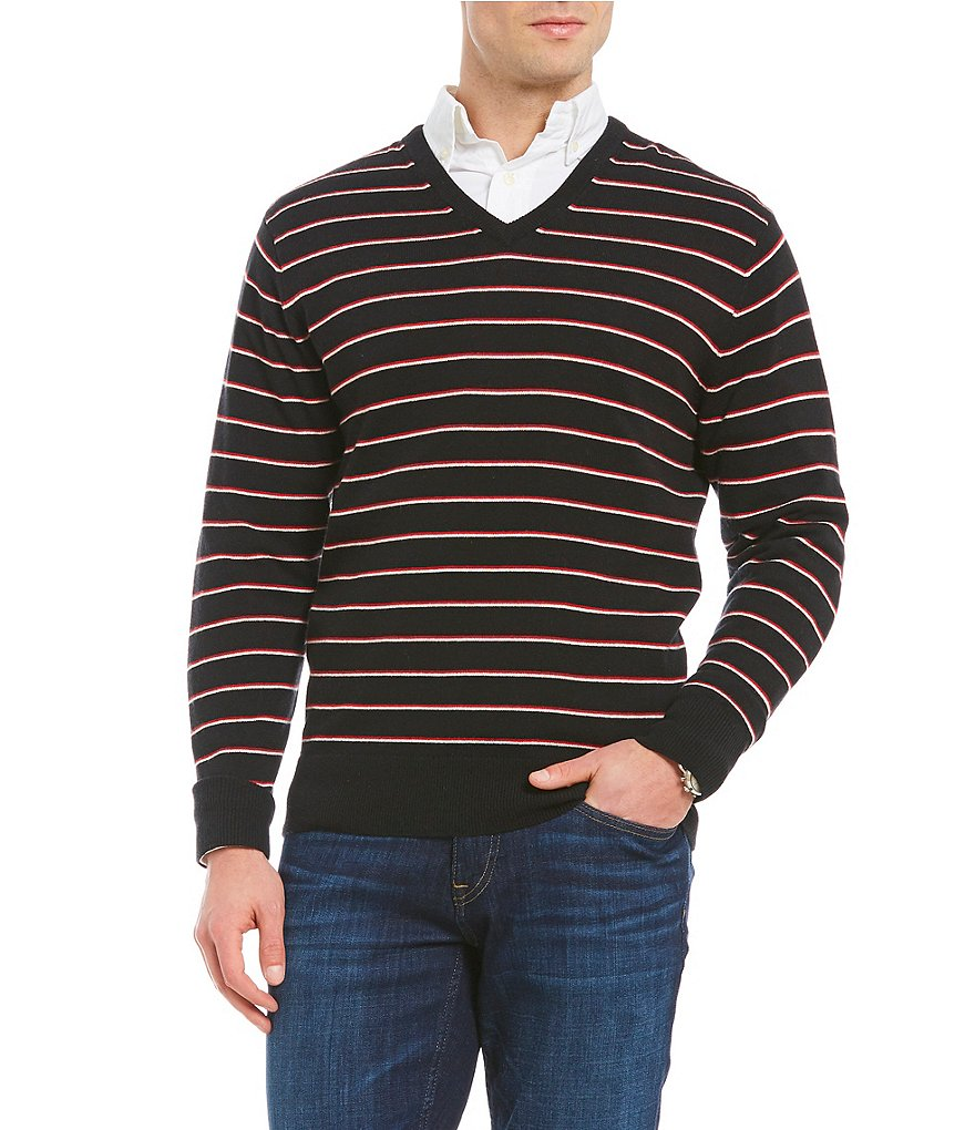 Cremieux Striped V-Neck Sweater