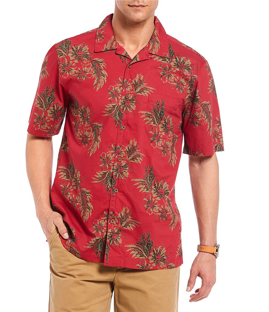 Cremieux Tropical Print Short-Sleeve Woven Camp Shirt