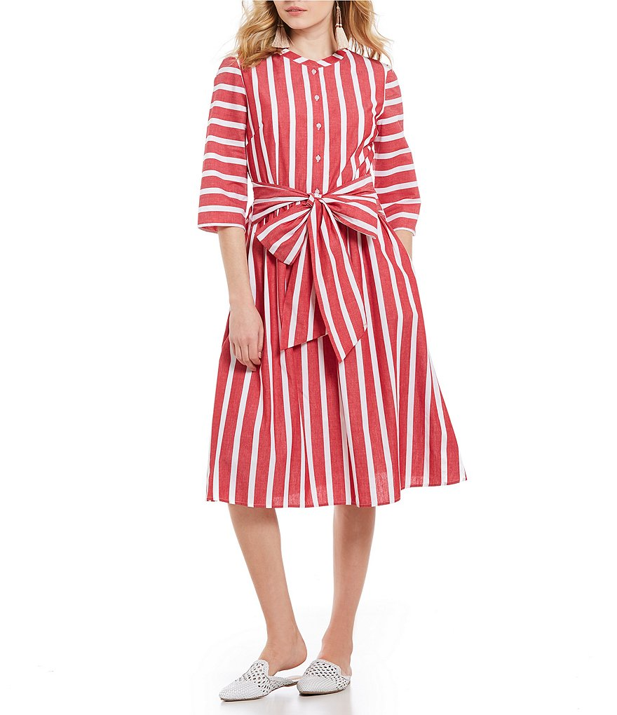 Cremieux Tyler Stripe Tie Front Midi Dress