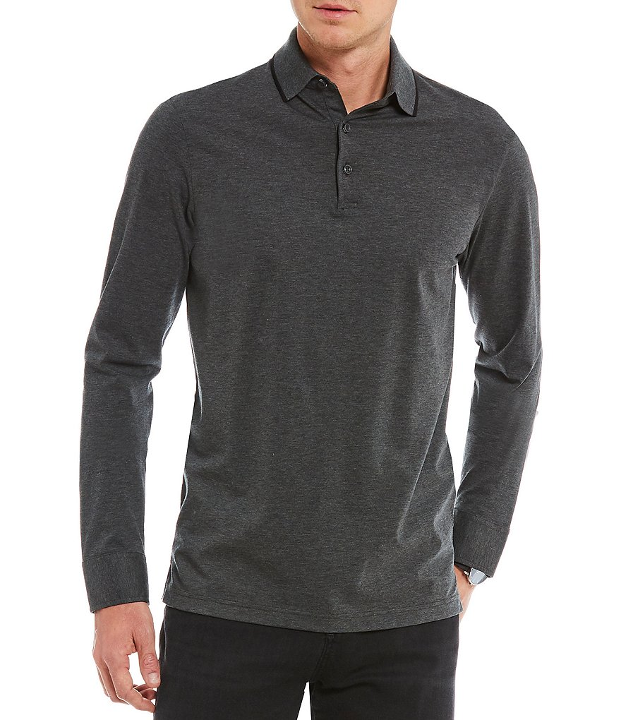 Crosby & Howard Contrast Tip Long-Sleeve Polo