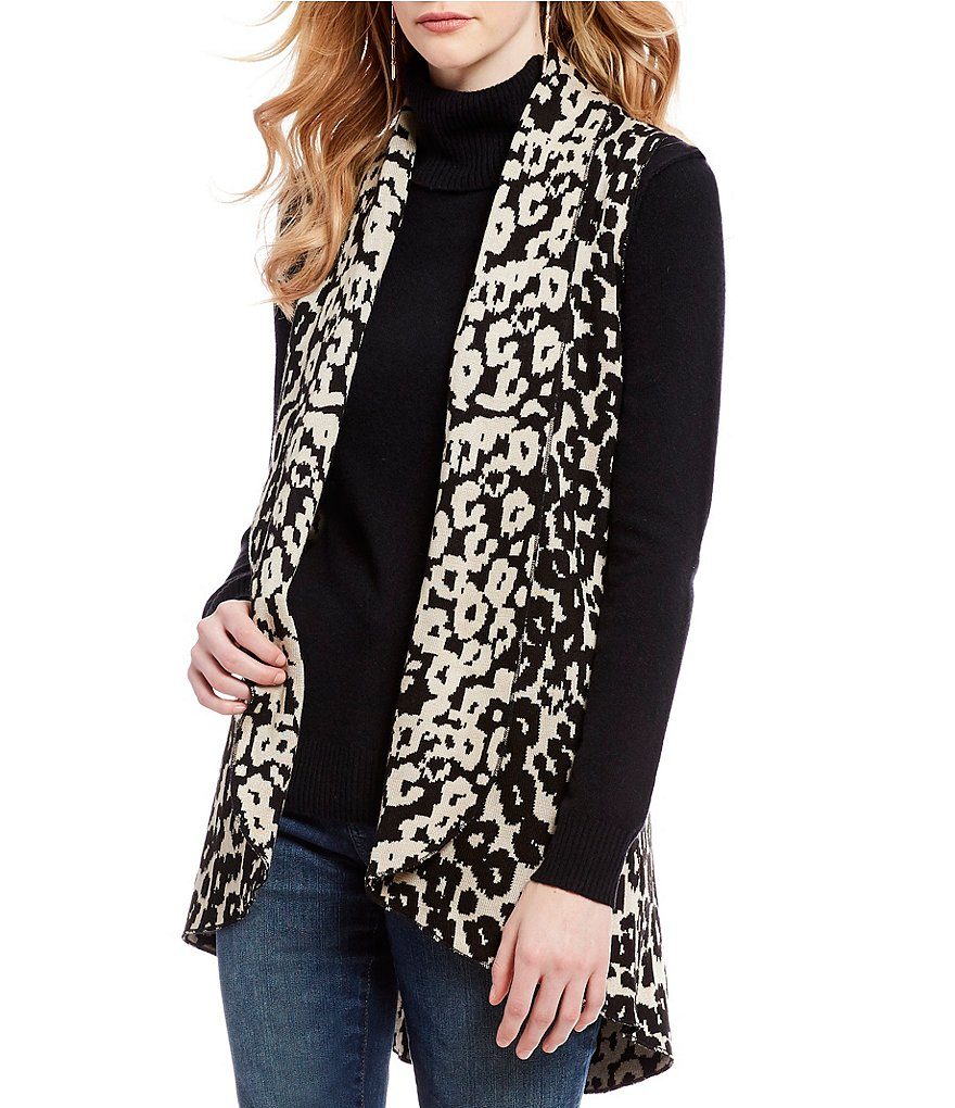 Cupio Animal Print Drape Cocoon Sweater Vest