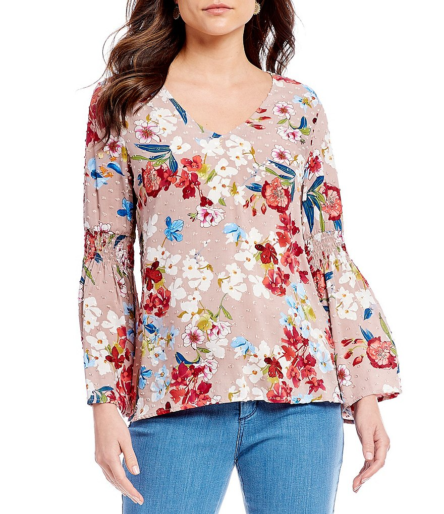 Cupio Clip Dot Bell Sleeve Floral Print Top