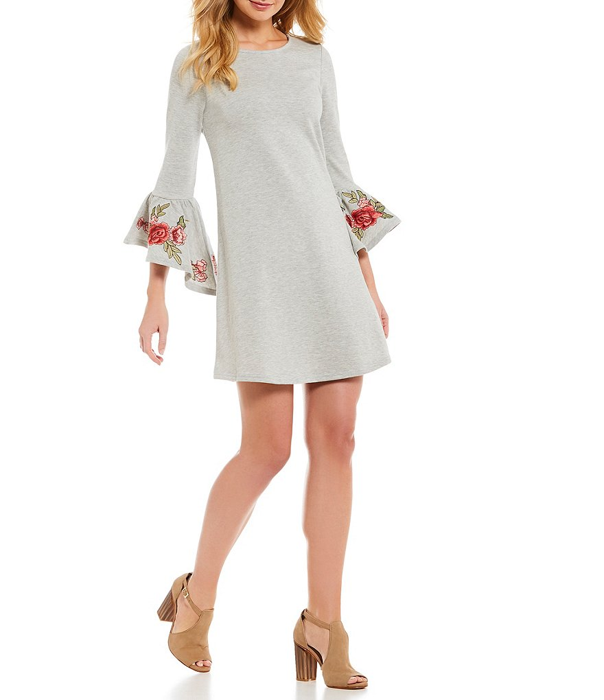 Cupio Floral Embroidered Ruffle Bell Sleeve Dress