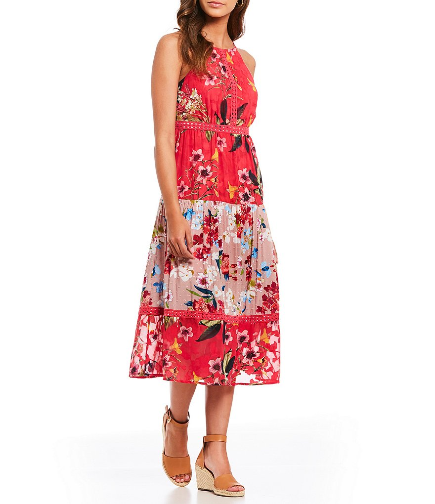 Cupio Tiered Halter Neck Floral Print Midi Dress