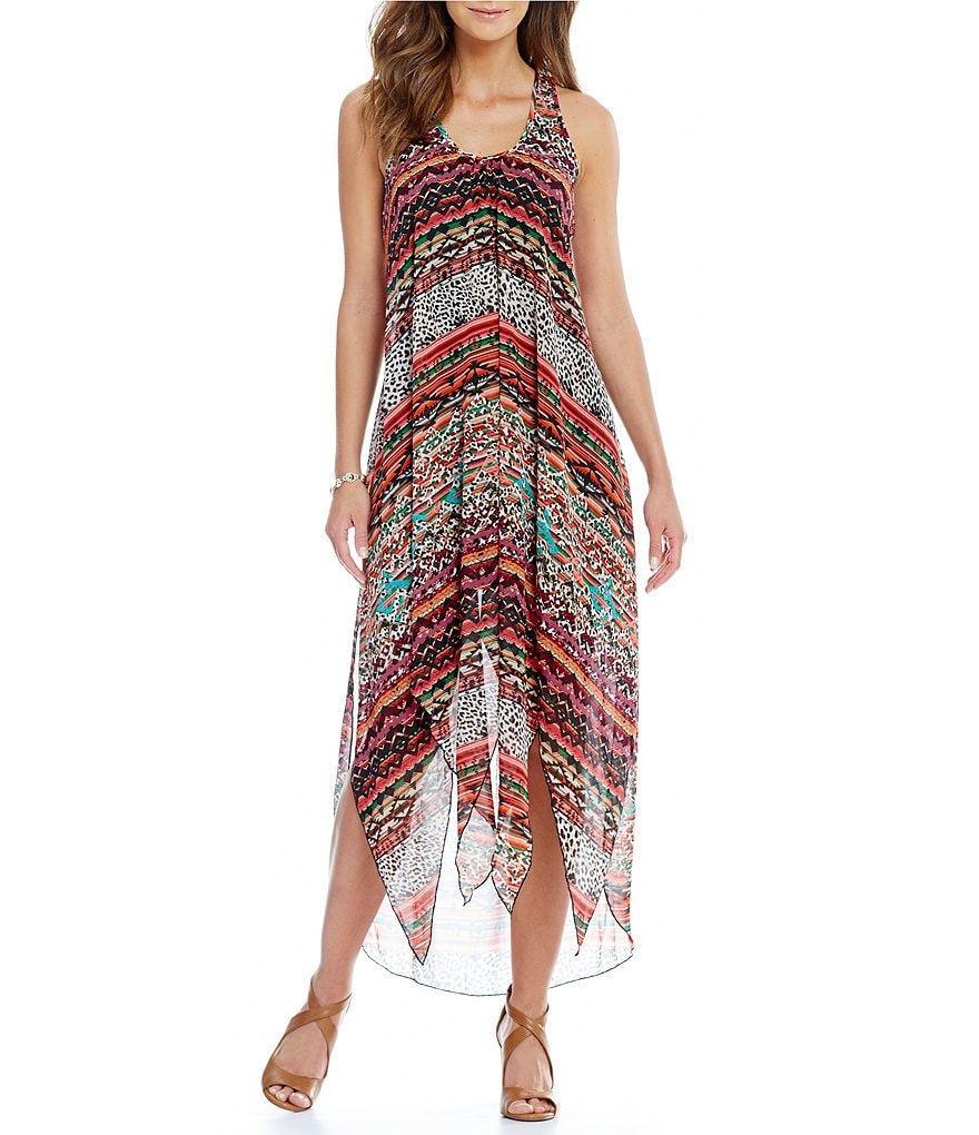 Cupio Tribal Print Sleeveless V-Neck Dress