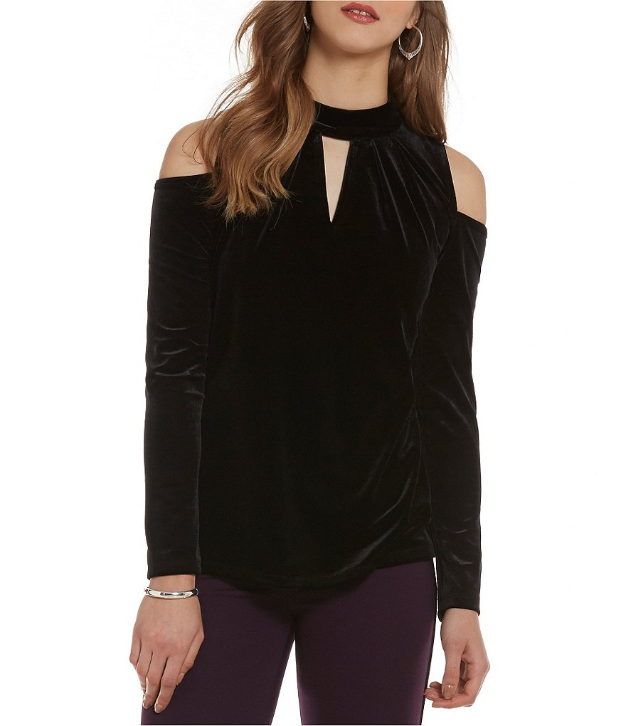 Cupio Velvet Cold Shoulder Mock Neck Top