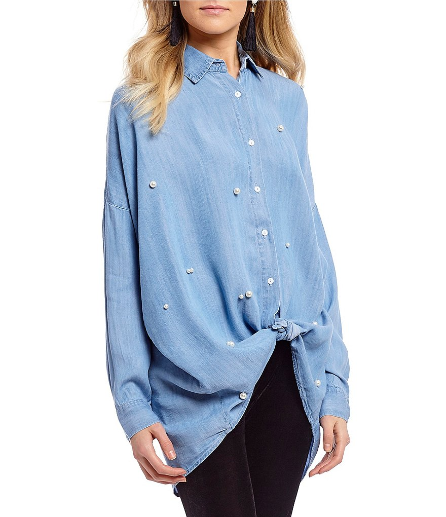 C&V Chelsea & Violet Pearl Embellished Button Down Top