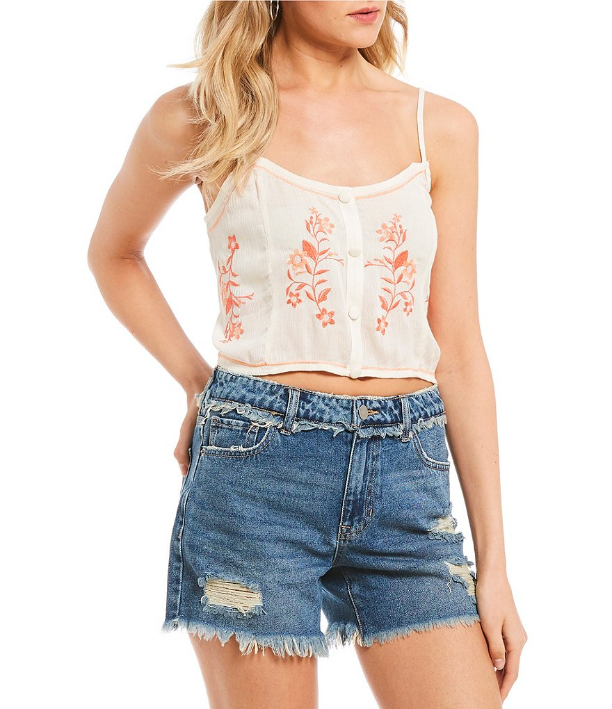 C&V Chelsea & Violet Embroidered Cropped Cami