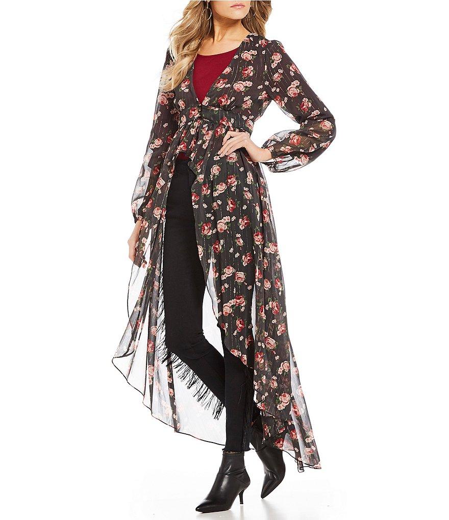 C&V Chelsea & Violet Floral Printed Duster Cardigan | Dillards