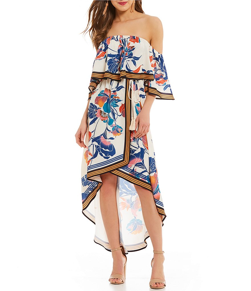 C&V Chelsea & Violet Floral Printed Off the Shoulder Dress