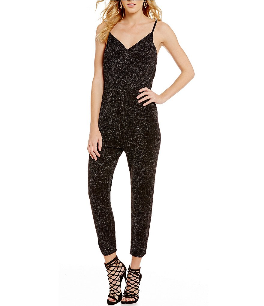 C&V Chelsea & Violet V-Neck Side-Pockets Metallic Knit Jumpsuit