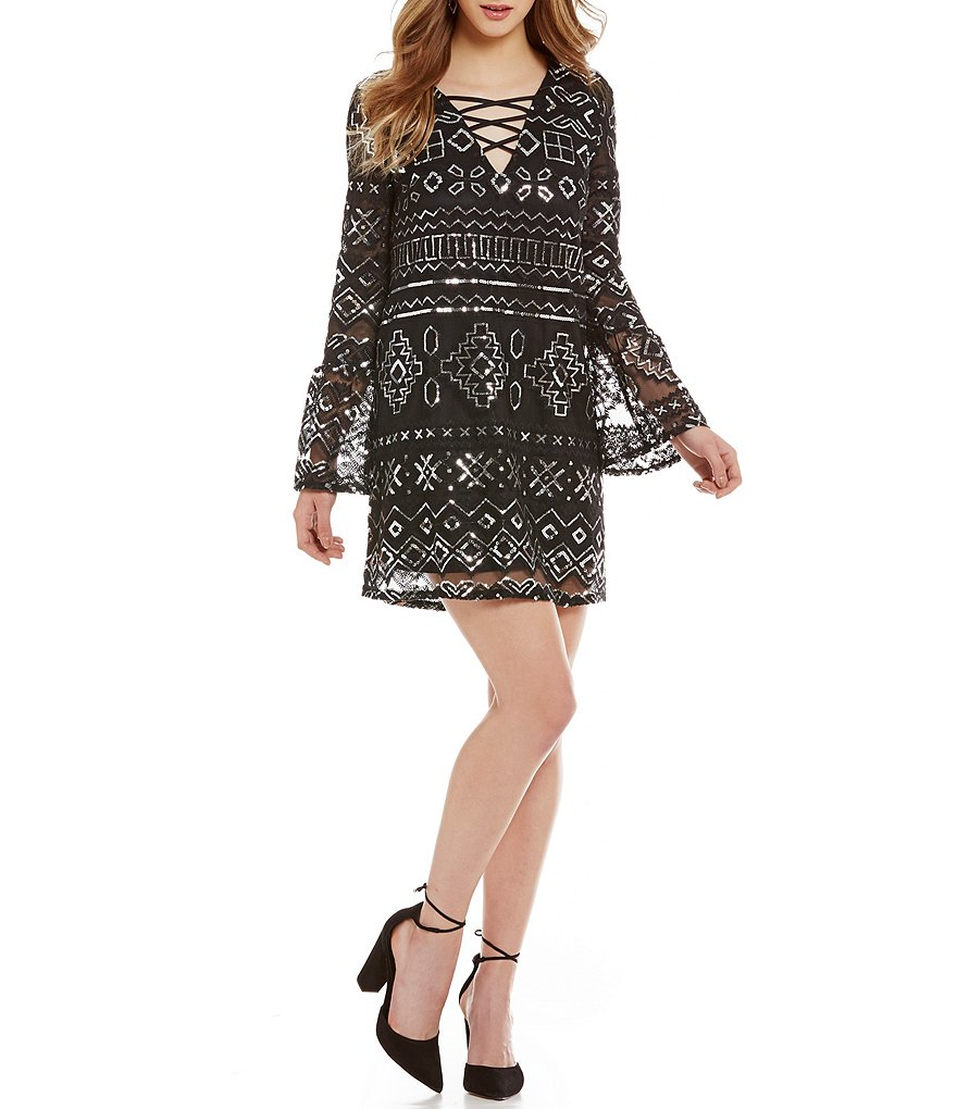 C&V Chelsea & Violet Sequin Lace-Up Bell-Sleeve Shift Dress