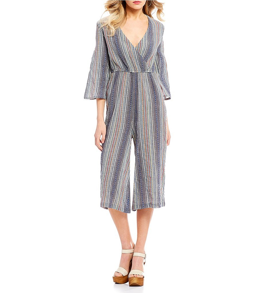 C&V Chelsea & Violet Striped Surplice Culotte Jumpsuit