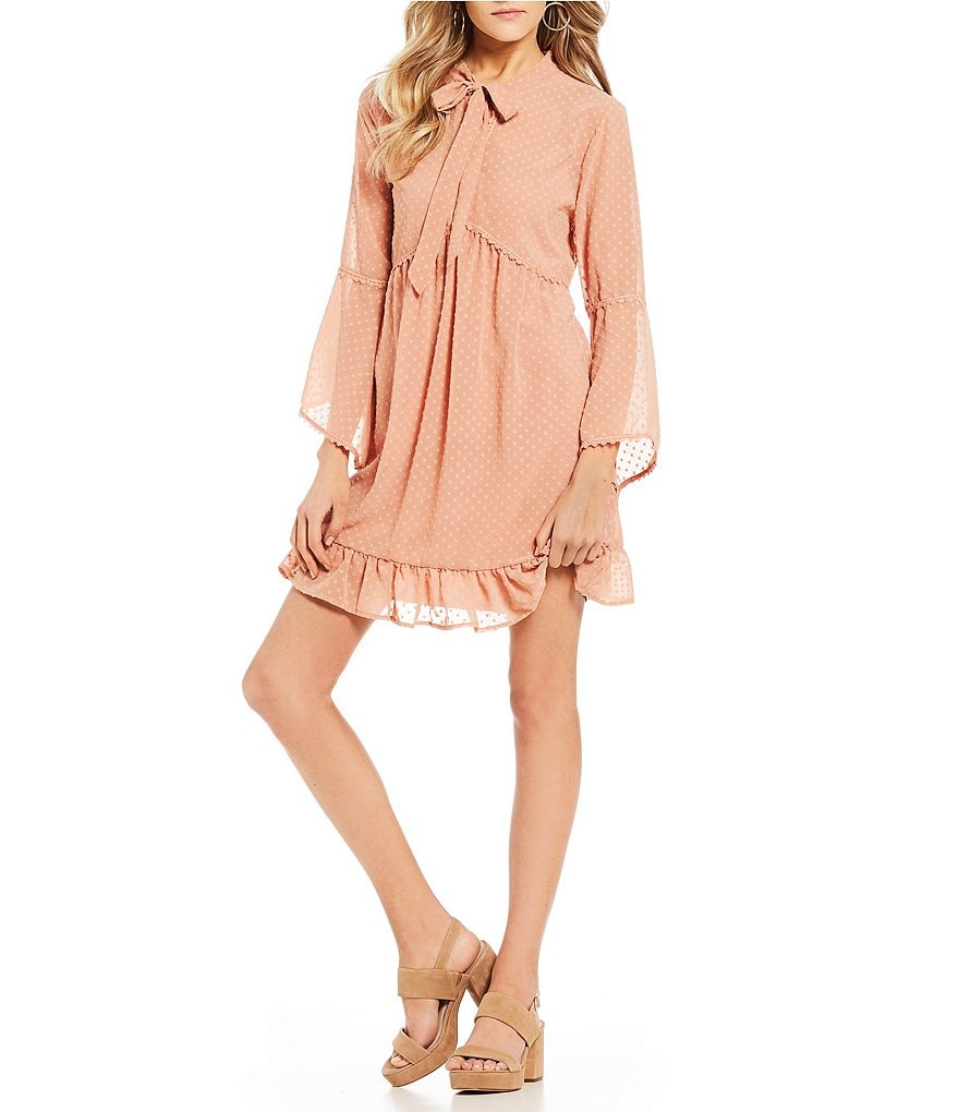 C&V Chelsea & Violet Tie Front Long Sleeve A-Line Dress
