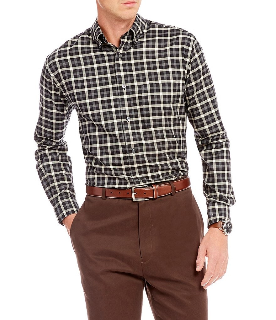 Daniel Cremieux Signature Big & Tall Check Heather Long-Sleeve Woven Shirt