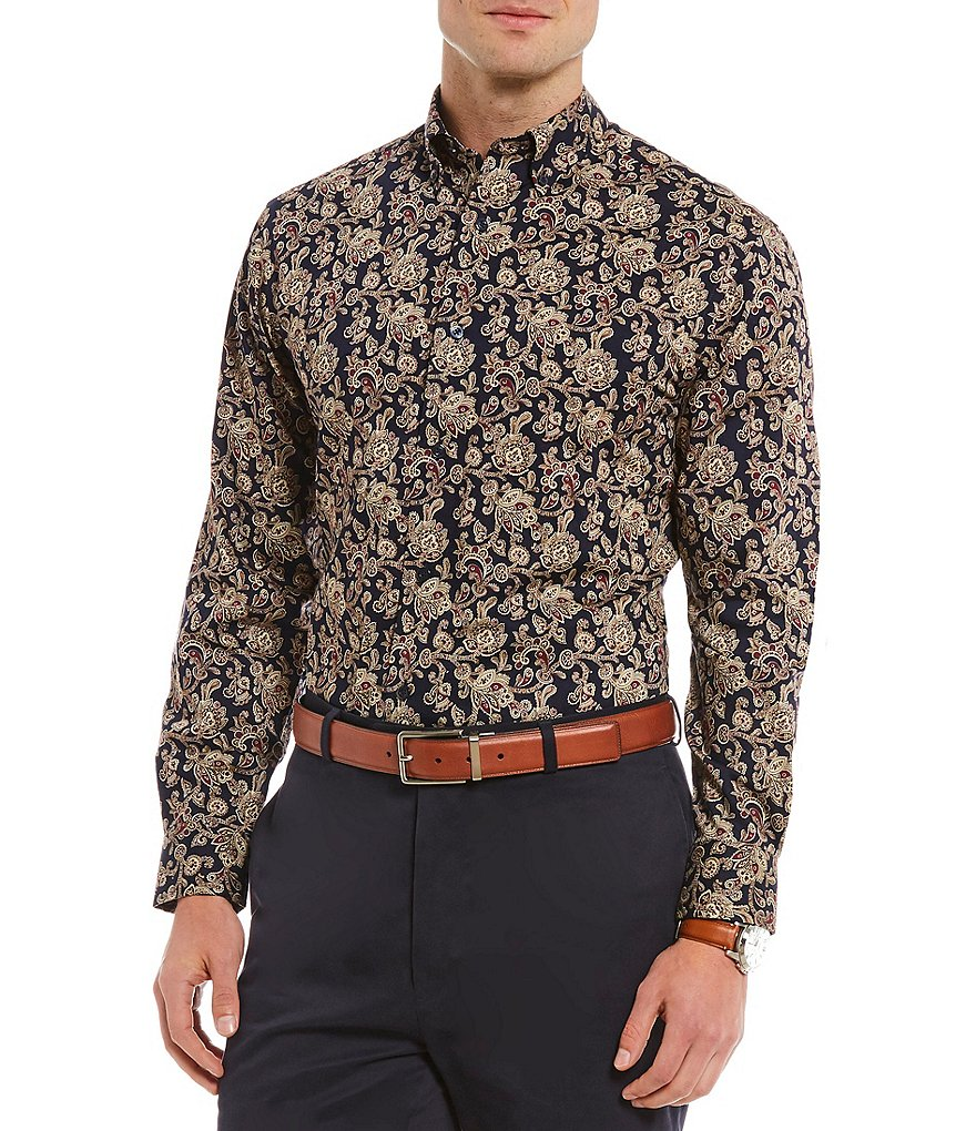 Daniel Cremieux Signature Big & Tall Printed Long-Sleeve Woven Shirt