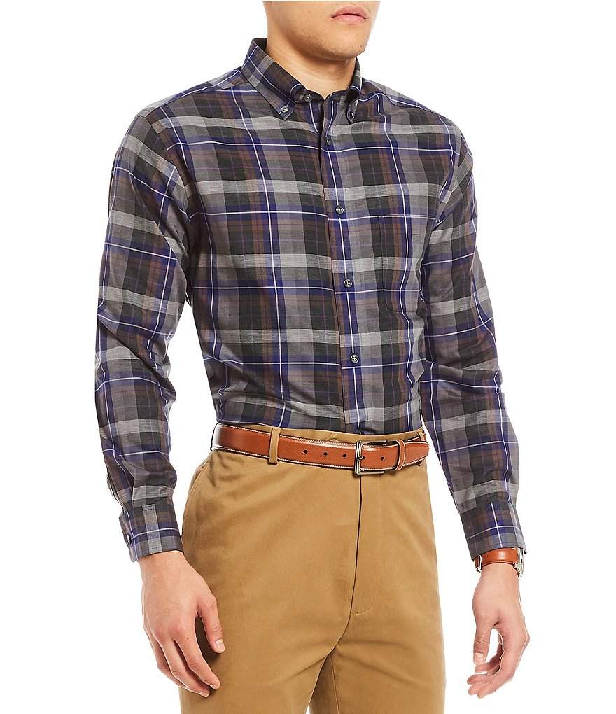 Daniel Cremieux Signature Heather Tartan Plaid Long-Sleeve Woven Shirt