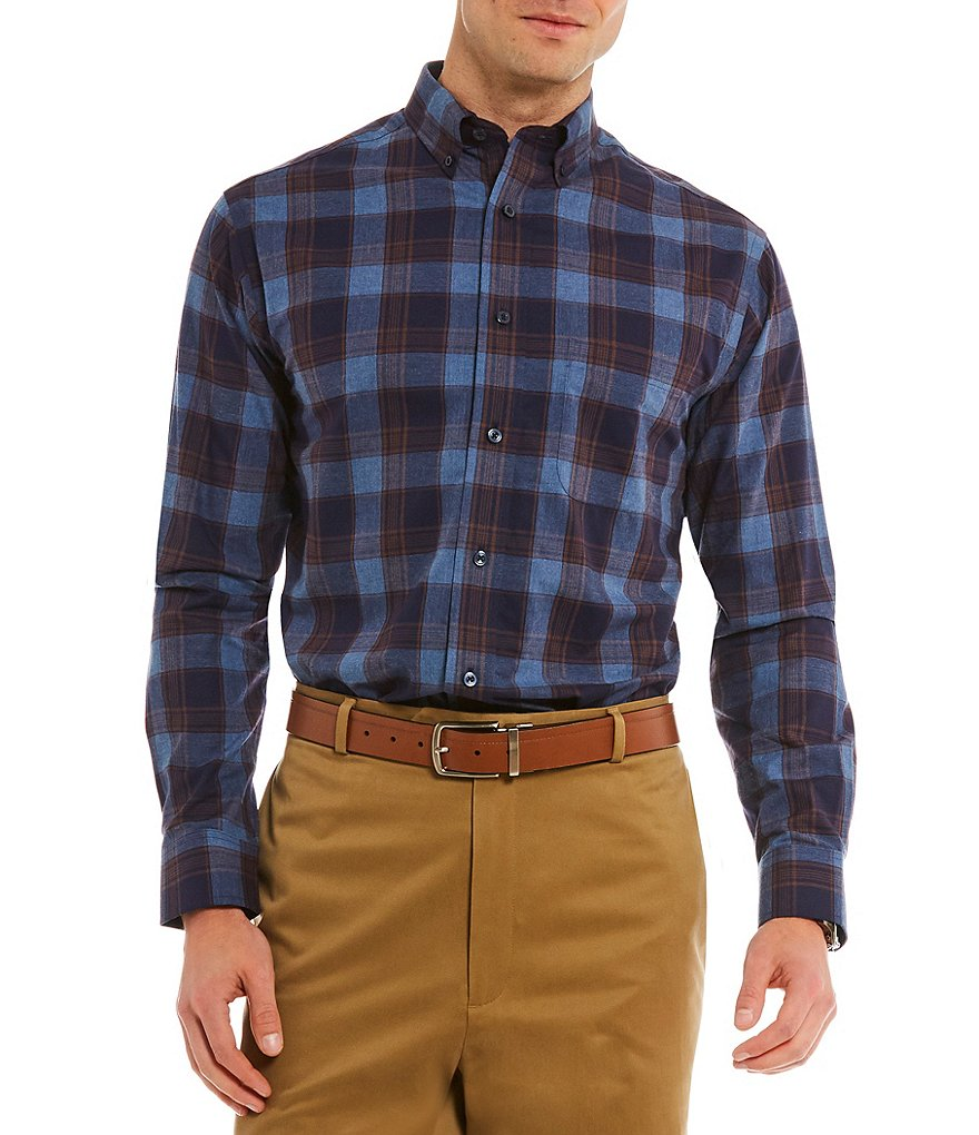 Daniel Cremieux Signature Glen Heather Plaid Long-Sleeve Woven Shirt