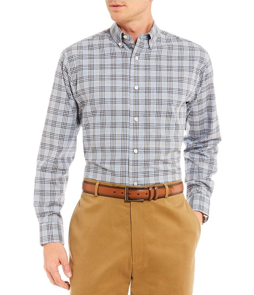 Daniel Cremieux Signature Heather Windowpane Plaid Long-Sleeve Woven Shirt