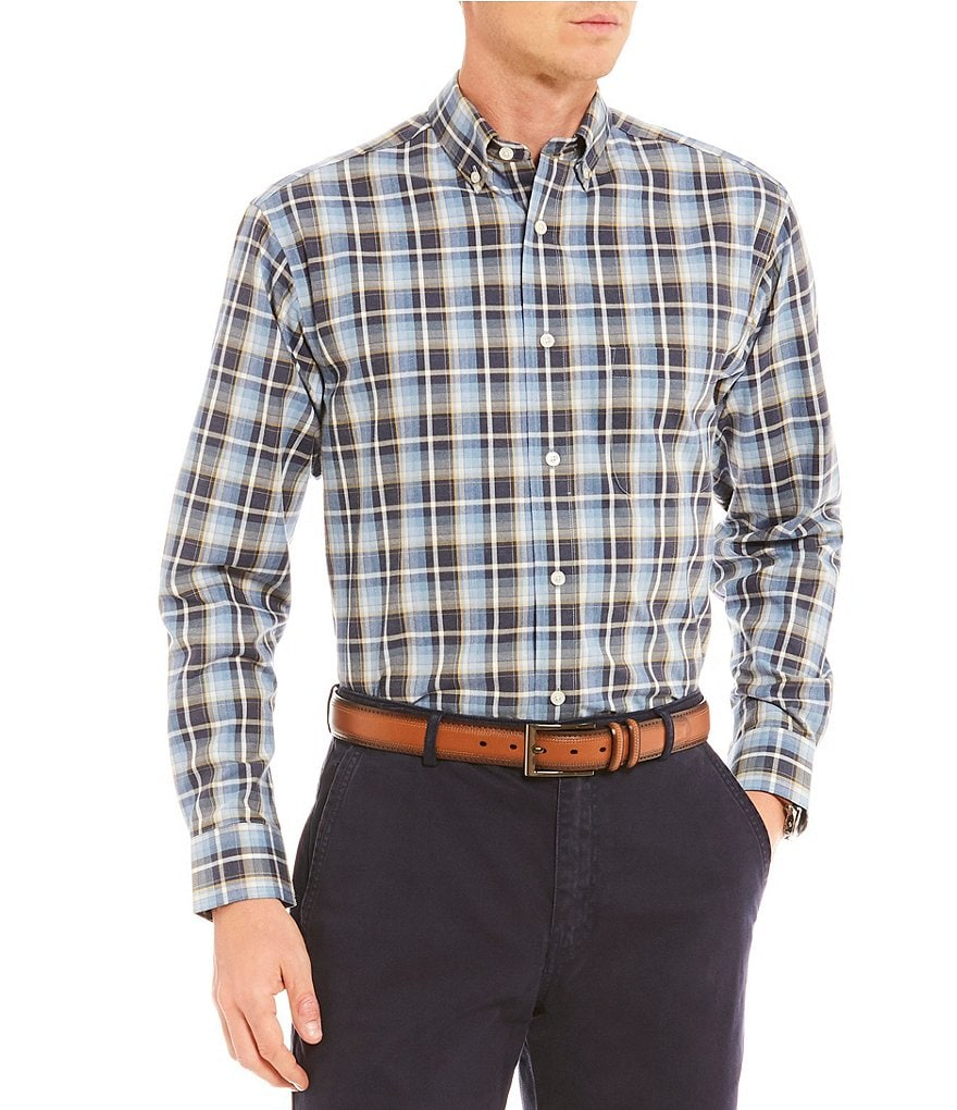 Daniel Cremieux Signature Heather Madras Plaid Long-Sleeve Woven Shirt