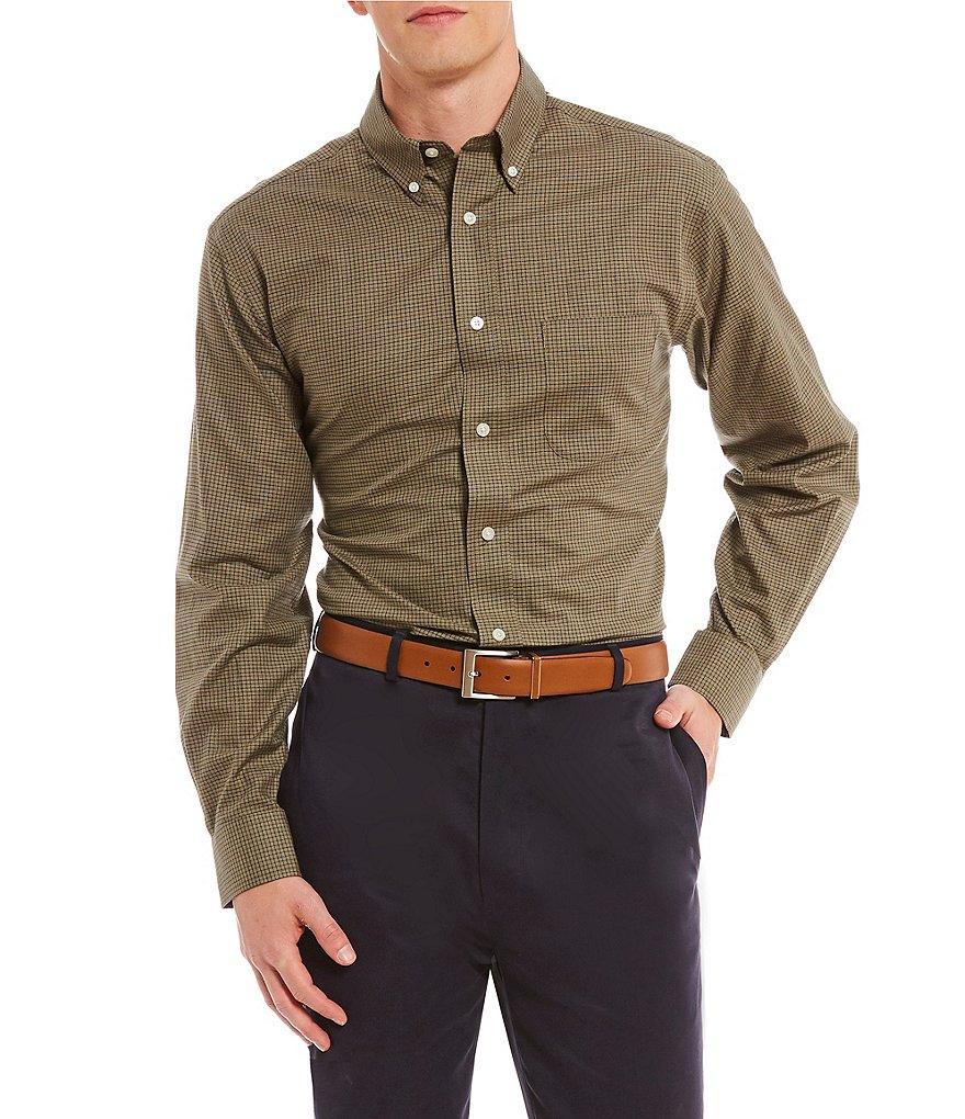 Daniel Cremieux Signature Mini-Check Heather Long-Sleeve Woven Shirt