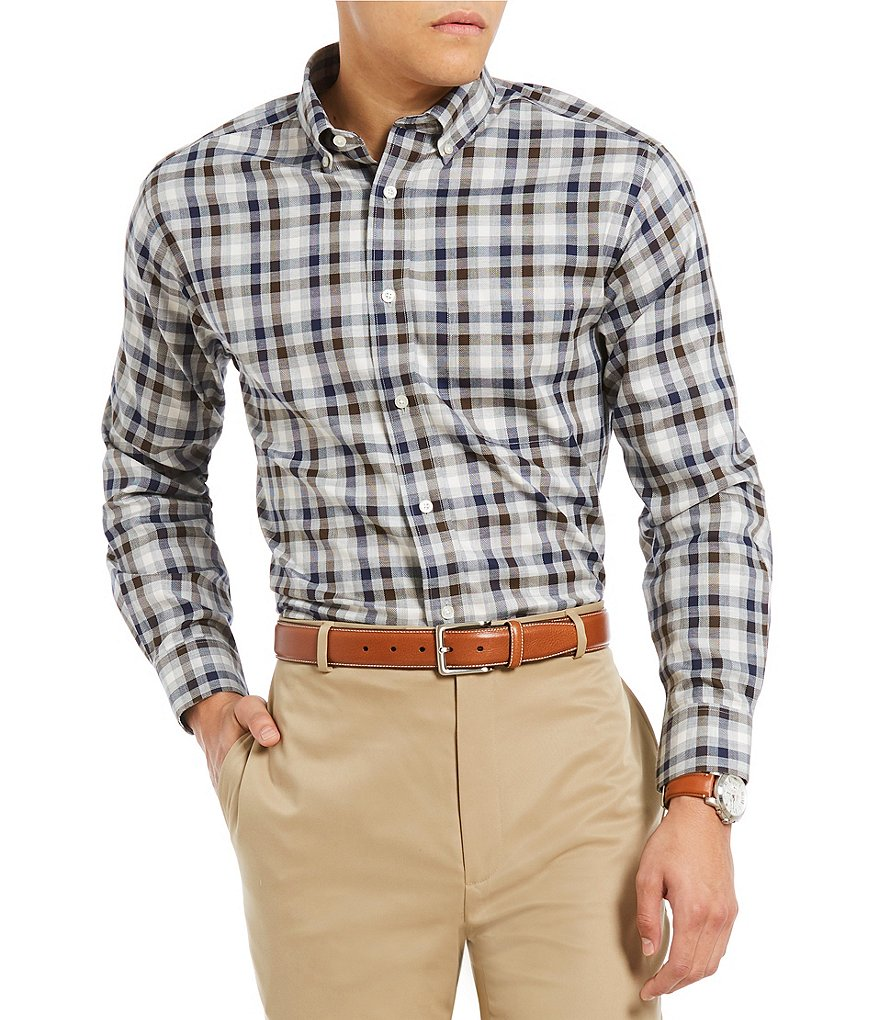 Daniel Cremieux Signature Non-Iron Royal Oxford Heather Check Long-Sleeve Woven Shirt