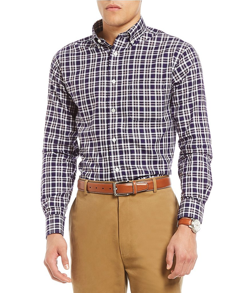 Daniel Cremieux Signature Non-Iron Royal Oxford Plaid Long-Sleeve Woven Shirt