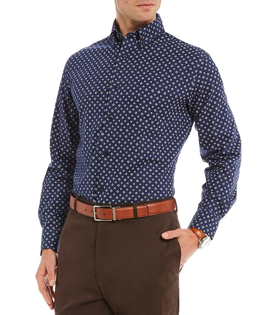 Daniel Cremieux Signature Geo Print Heather Long-Sleeve Woven Shirt