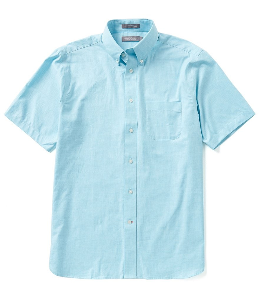 Daniel Cremieux Signature Short-Sleeve Solid Heather Woven Shirt