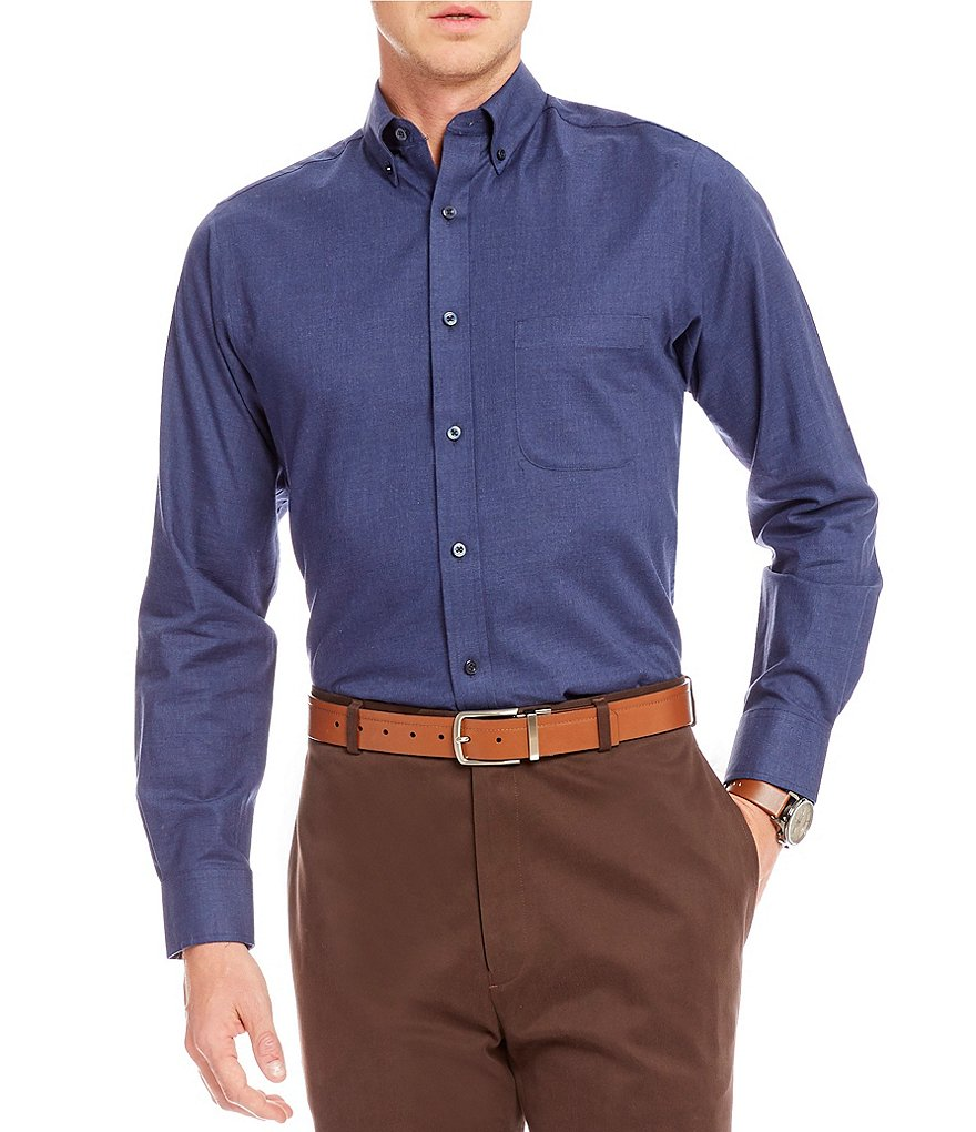 Daniel Cremieux Signature Slim Fit Solid Heather Long-Sleeve Woven Shirt