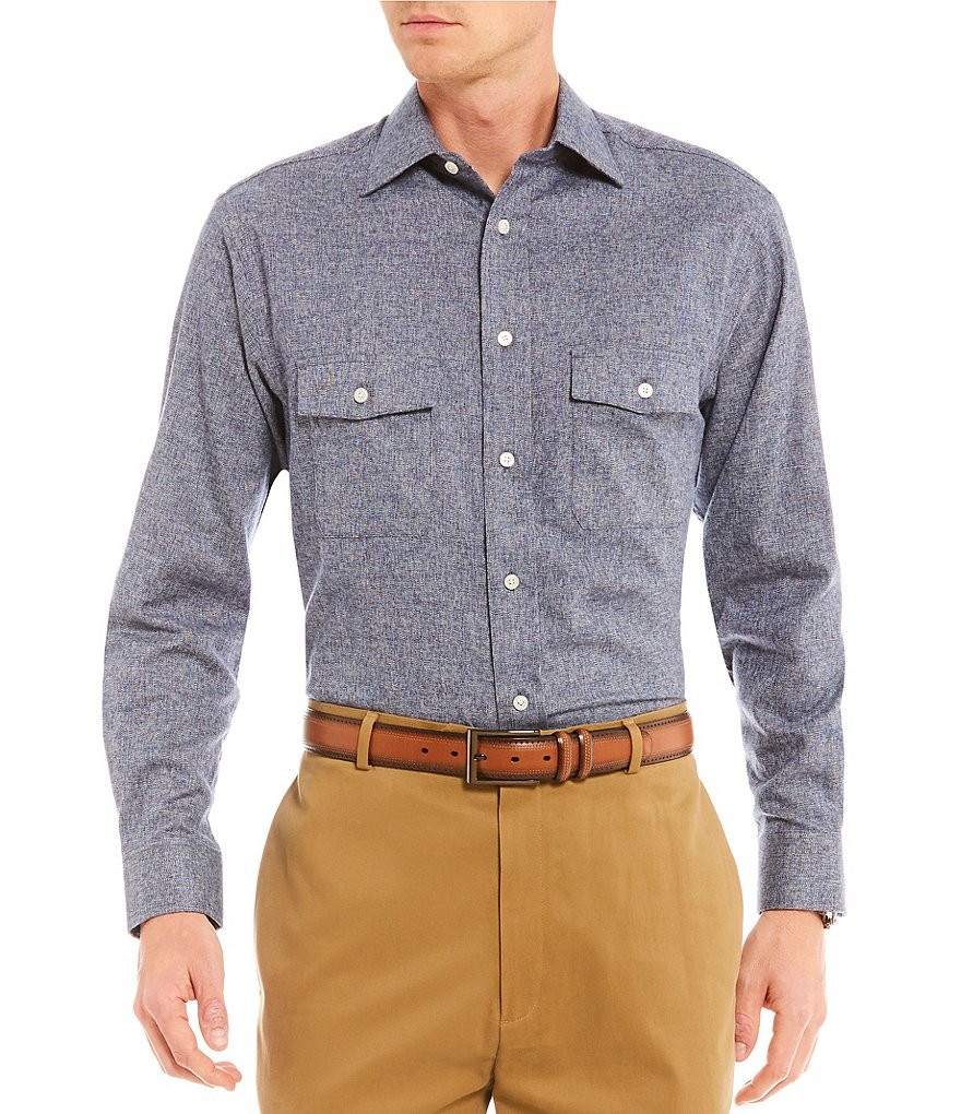 Daniel Cremieux Signature Solid Jaspe Long-Sleeve Woven Shirt