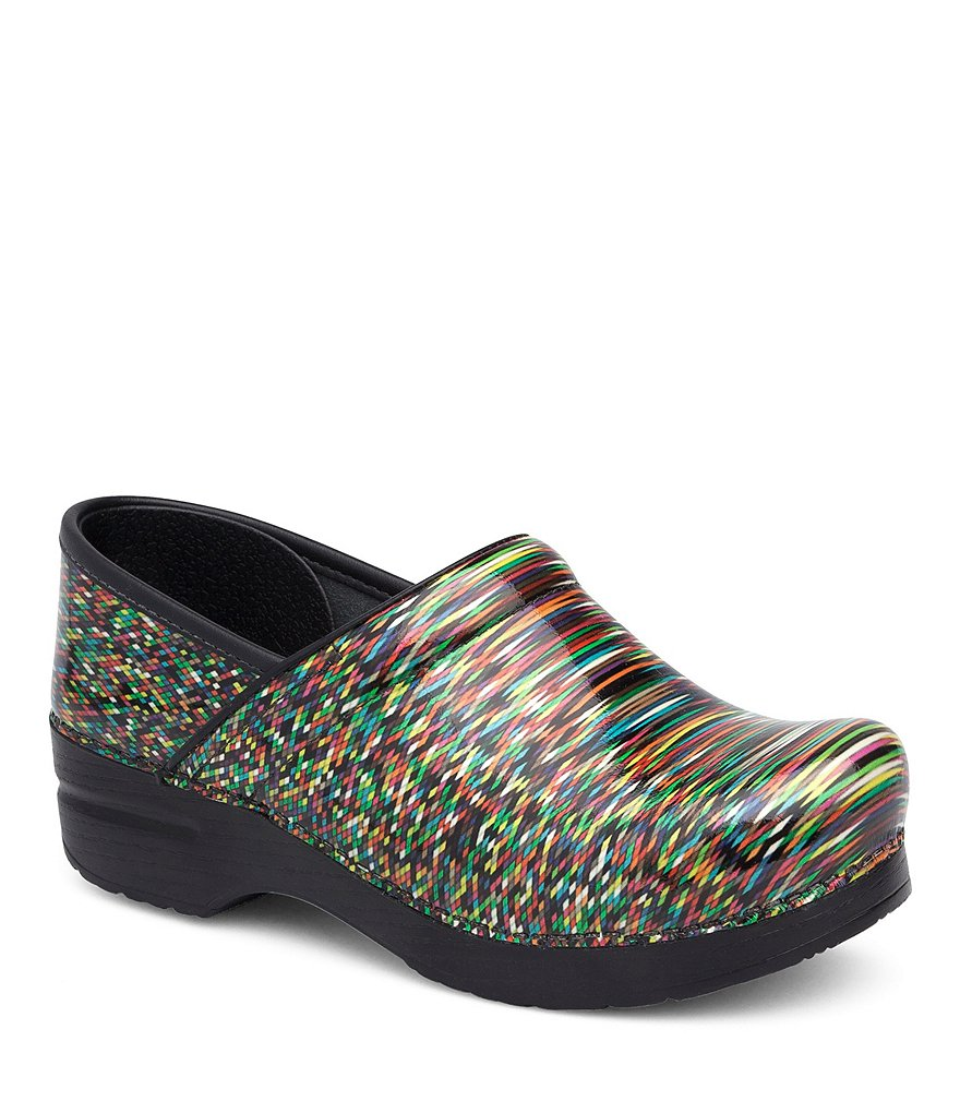 Dansko Pixel Printed Patent Leather Professional Clogs