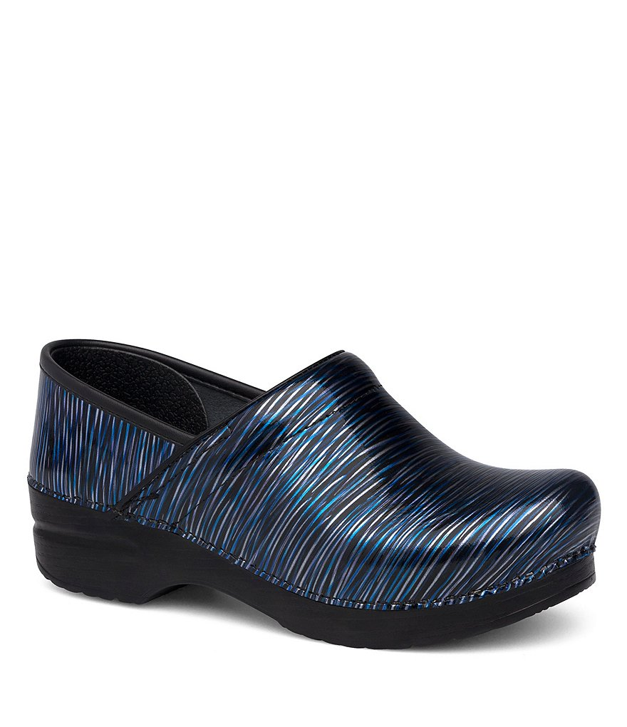 Dansko Wavy Stripe Patent Leather Professional Clogs