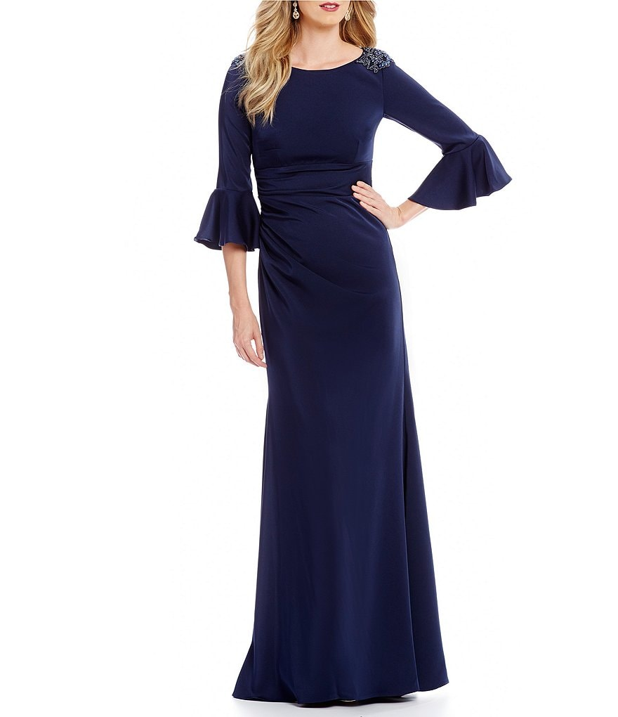 David Meister Beaded Shoulder Bell Sleeve Gown