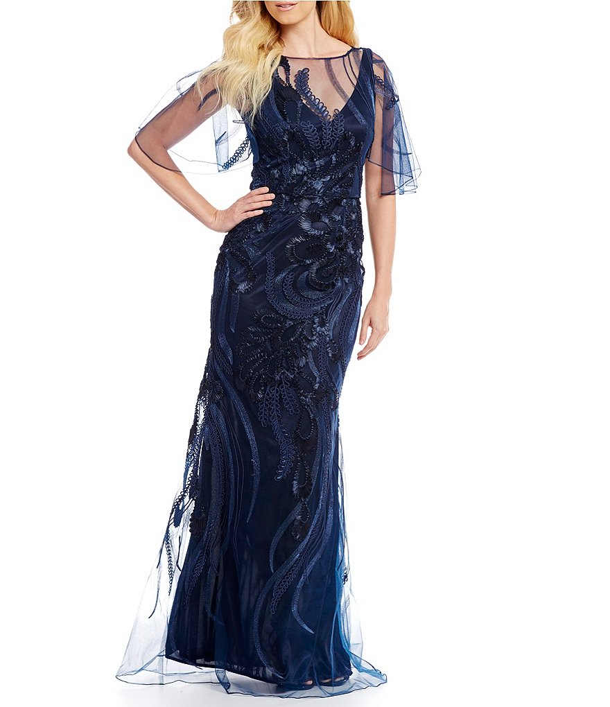 David Meister Embroidered Soutache Gown