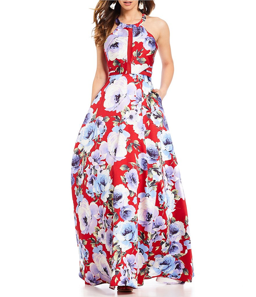Dear Moon High-Neck Floral-Printed Long Dress