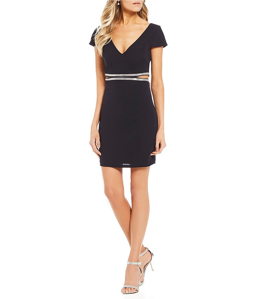 Dear Moon Jewel Trim Cut Out Waist Sheath Dress