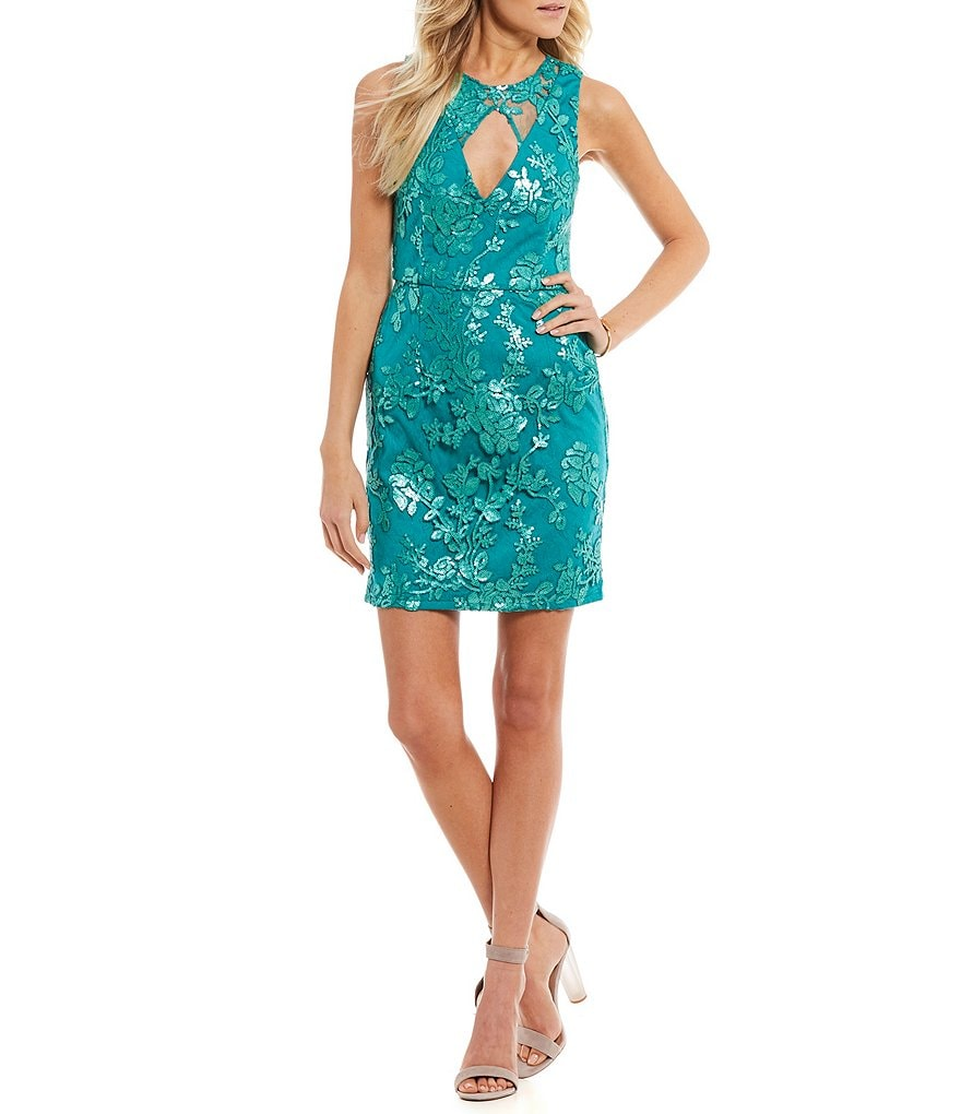 Dear Moon Sequin-Floral Sheath Dress