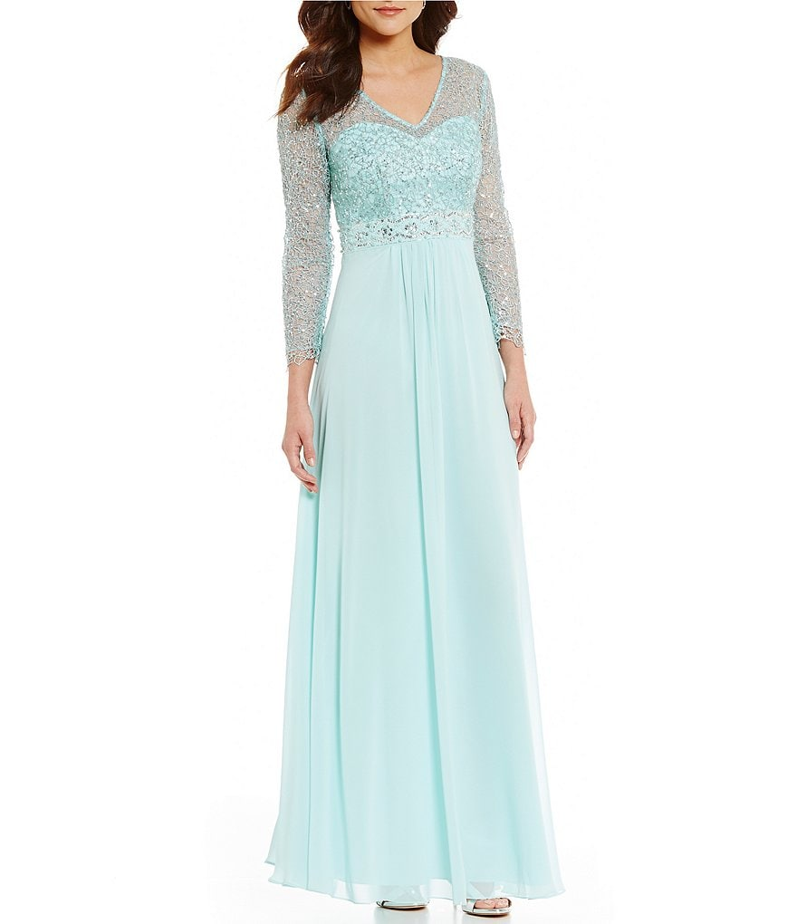 Decode 1.8 V-Neck Sequin Lace Chiffon Gown