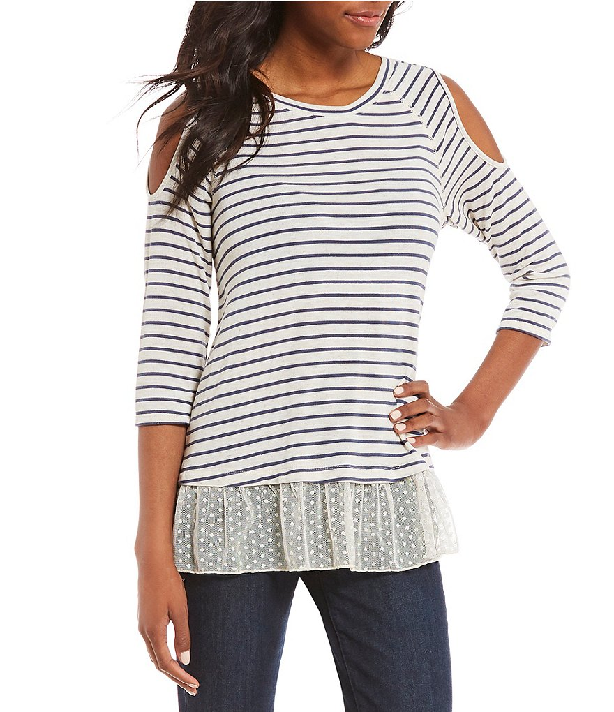 Democracy 3/4 Sleeve Cold-Shoulder Striped Top