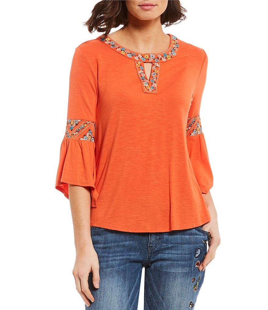 Democracy 3/4 Sleeve Embroidered Cleo Neck Top