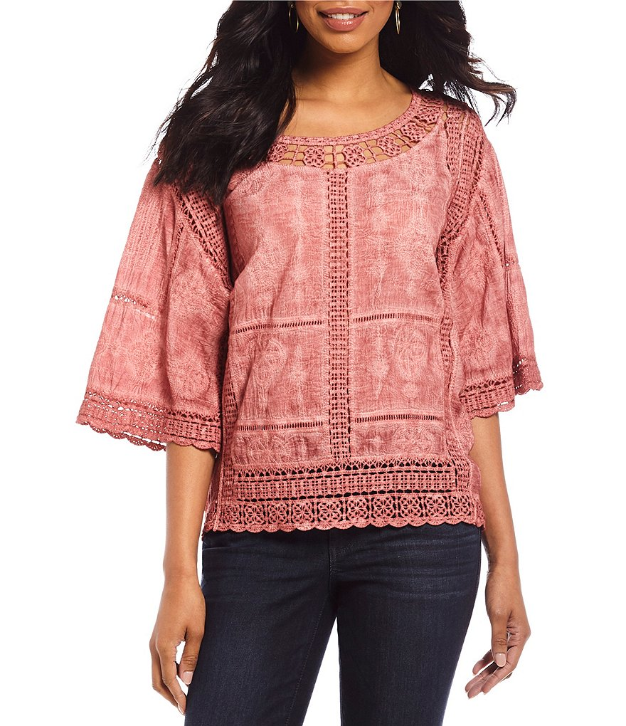 Democracy Crochet Bell Sleeve Top