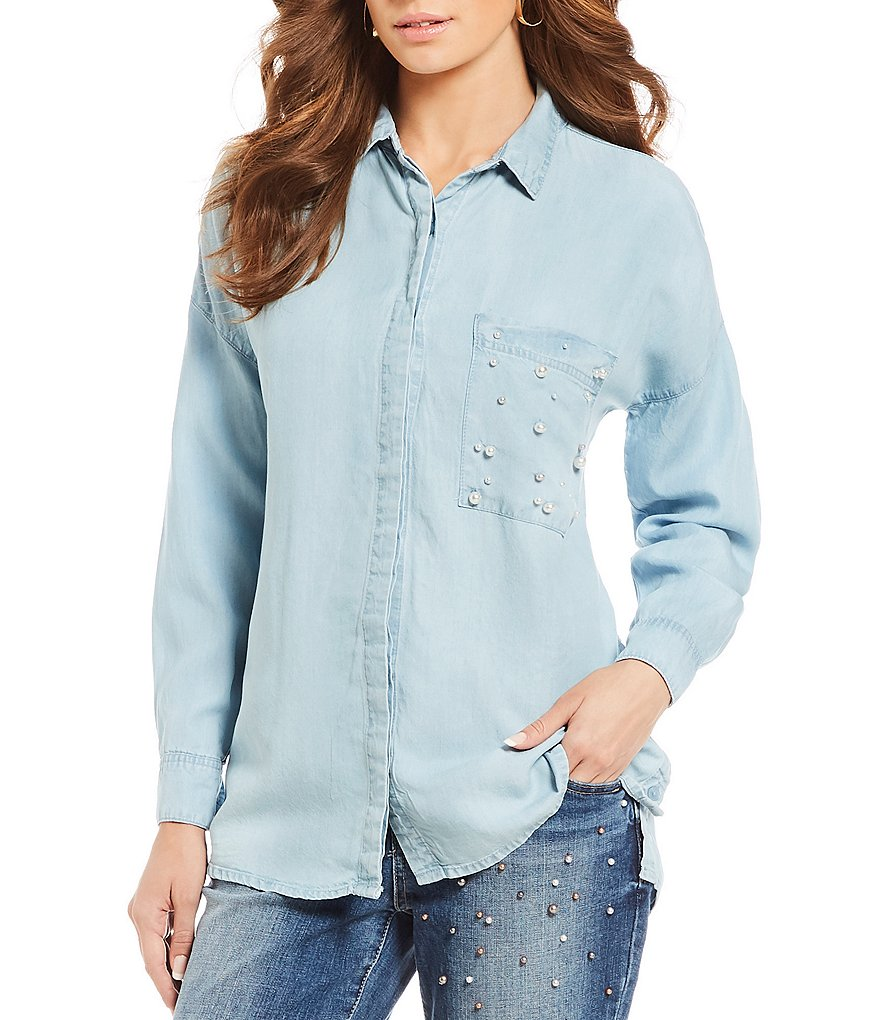 Democracy Drop Shoulder Embellished Pocket Button Down Shirt