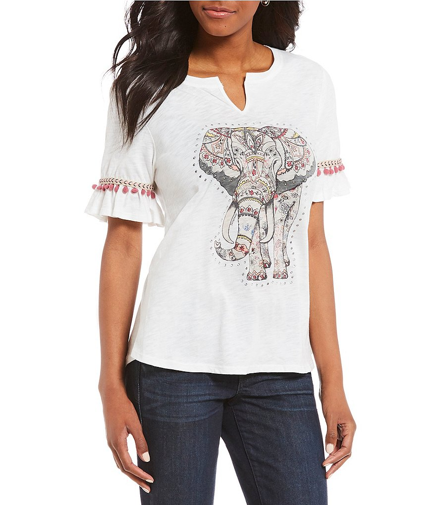 Democracy Flutter Sleeve #double;Elephant#double; Screen Print Tee