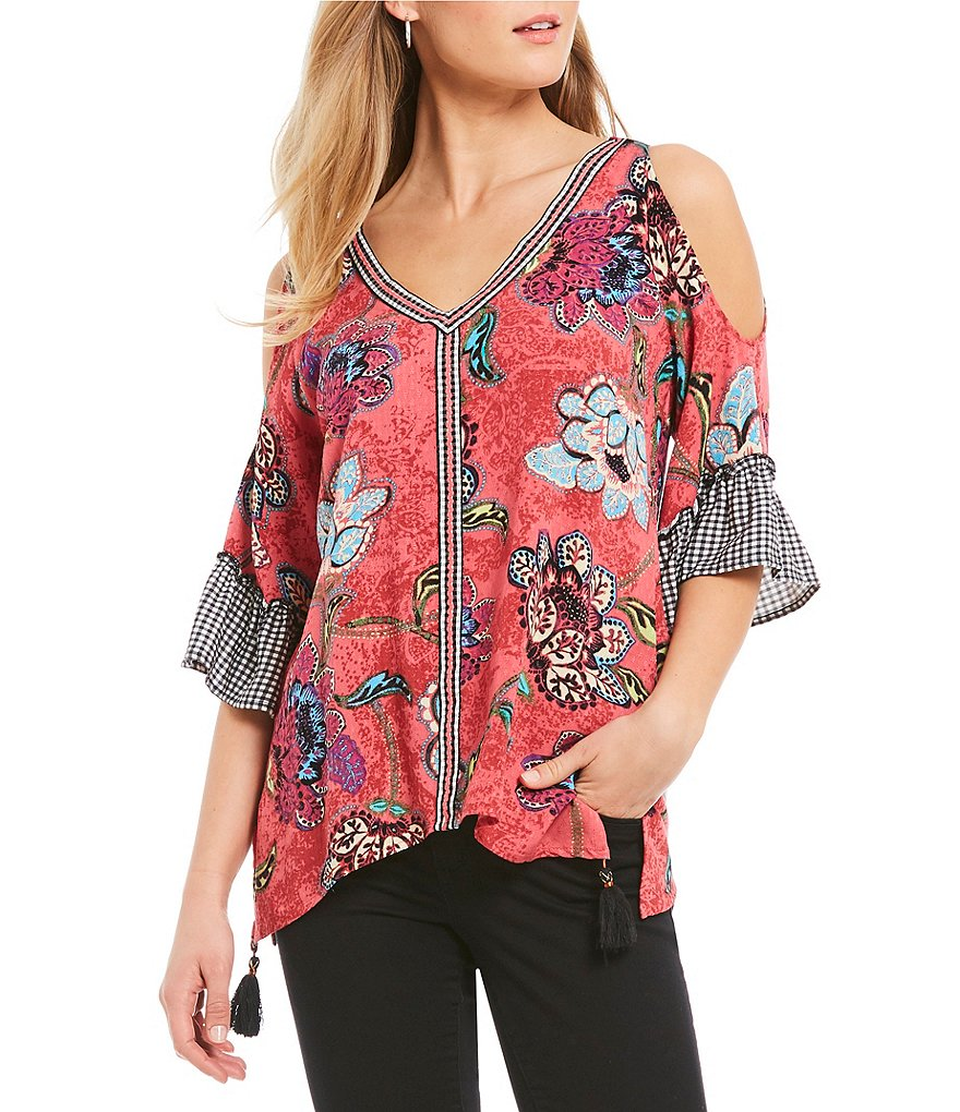 Democracy Gingham Embroidered Floral Print Cold-Shoulder Bell Sleeve Blouse