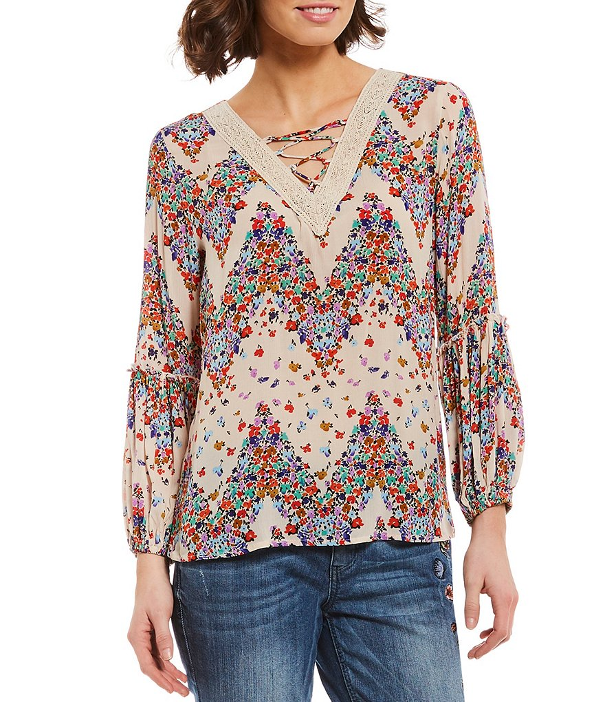 Democracy Lace-Up Crochet V-Neck Long Sleeve Top