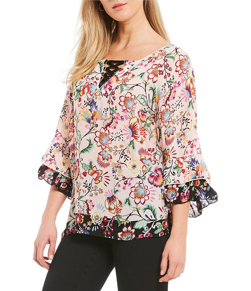 Democracy Lace-Up Neckline Double Flounce Sleeve Floral Print Blouse